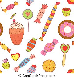 Sweets seamless pattern with candies and cookies