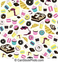 Sweets seamless pattern with cheesecake, brownie, cupcake,...