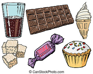 sweets - set of sketch illustration of sweet foods and...