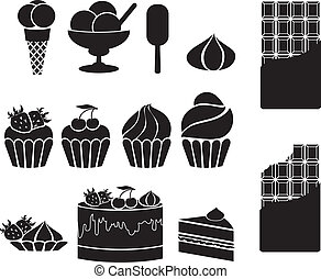 sweets. set of vector icons on a white background
