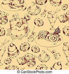 Sweets sketch seamless pattern