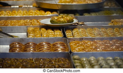 Sweets. Sweets on the counter. Turkish sweets