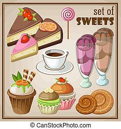 sweets., vector, conjunto, ilustración