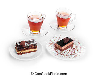 Sweets with cups of tea