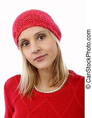 sweter, fason, blondynka, czerwony, kobieta