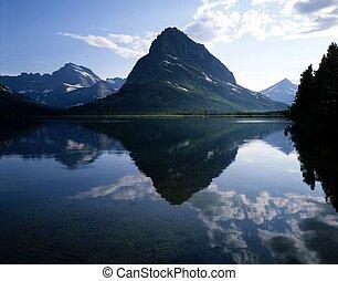 swift, 흐름, 호수, 빙하 국립 공원, montana