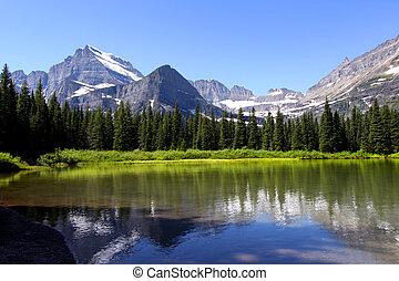 Swift current lake - Scenic Swift current lake near Many...
