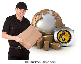 Isolated image of a messenger delivering a parcel with a world map, packages and a chronometer as a background