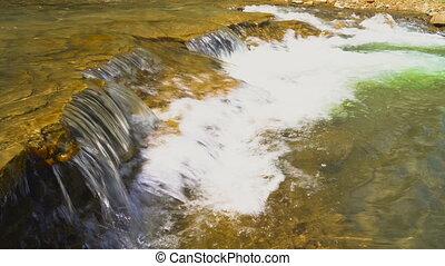 Swift mountain river in Caucasus mountains, Russia UHD 4k