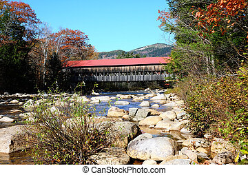 Swift River at autumn - Swift River and old covered bridge...