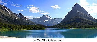 Swiftcurrent lake - Panoramic view of Swift Current lake in...