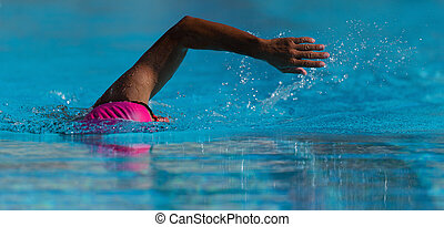 Swim competition swimmer athlete doing crawl stroke