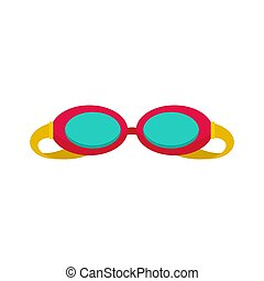Swim glasses icon, flat style