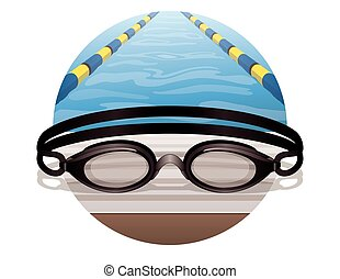 swim goggles black, on the pool deck in a circle