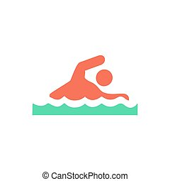 Swim Icon Vector. Flat simple color pictogram