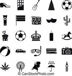 Swim icons set, simple style - Swim icons set. Simple set of...