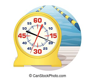 swim pace clock at pool in a circle - swim pace clock on the...