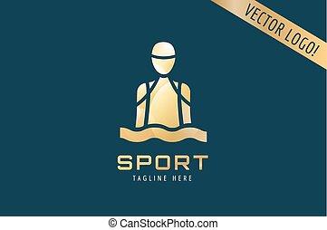 Swim sport logo icon template. Pool, swimmer, man symbol or water, athlete, swimming club. Design element.