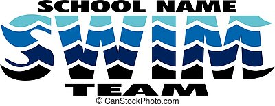 swim team logo design with waves for school, college or ...