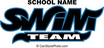 swim team logo design with wavy font for school, college or...