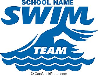 swim team design with graphic swimmer for school, college or...