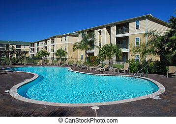 swimimng, pool, en, flatgebouwen