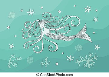 print with hand drawn swiming mermaid in zen style for home art, decorate wall, visit card, book, notebook, posters, banners. eps 10.