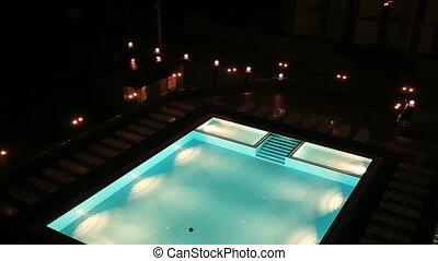 Swiming pool glowing at night top view