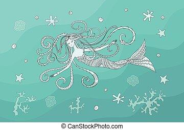 swiming, sereia, água