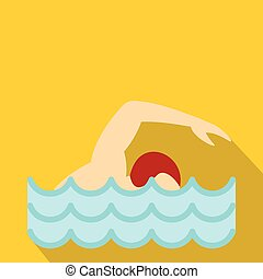 Swimmer crawling in pool icon, flat style