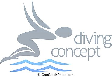 Swimmer diving concept - An illustration of an abstract...