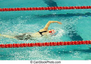 Swimmer Doing Freestyle Stroke