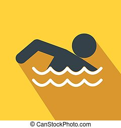 Swimmer flat icon