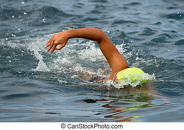 Swimmer floating crawl