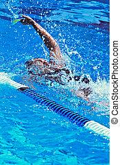 Swimmer full effort  in the olympic pool
