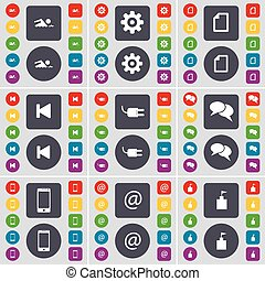 Swimmer, Gear, File, Media skip, Socket, Chat, Smartphone, Mail, Flag tower icon symbol. A large set of flat, colored buttons for your design. Vector