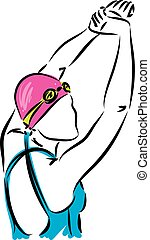 swimmer girl stretching vector illustration