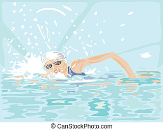 swimmer - hand drawn illustration of a woman swimming in...