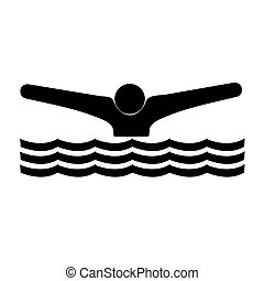 Swimmer icon black on a white background.