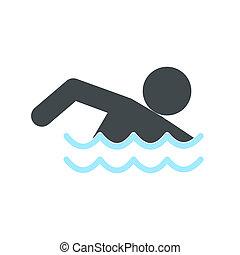 Swimmer icon flat
