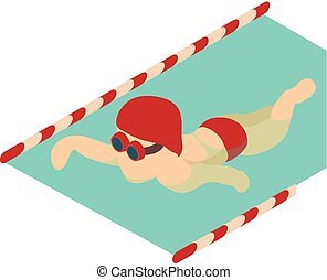 Swimmer icon, isometric 3d style - Swimmer icon. Isometric...
