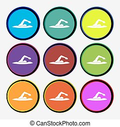 swimmer icon sign. Nine multi colored round buttons. Vector