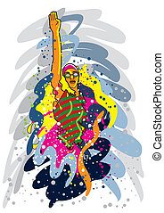 Swimmer - Vector illustration of a professional swimmer in...