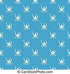Swimmer in a swimming pool pattern seamless blue