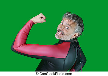 swimmer in wetsuit - smiling man in professional triathlon...