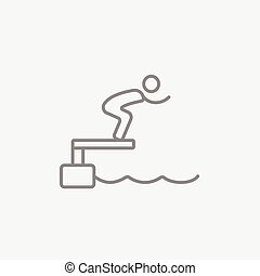 Swimmer jumping from starting block in pool line icon.