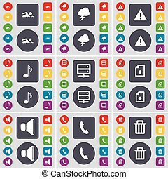 Swimmer, Lightning, Warning, Note, Server, Upload file, Sound, Receiver, Trash can icon symbol. A large set of flat, colored buttons for your design. Vector