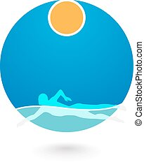 Swimmer Logo Design Element.