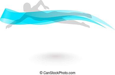 Swimmer Logo Design Element.