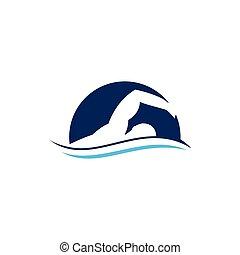 Swimmer logo design inspiration vector template